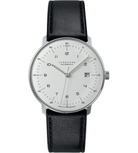 Junghans 027 4700.00 Max Bill Automatic Steel And Leather Watch Silver