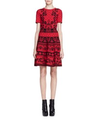 Alexander Mcqueen Short Sleeve Floral Knit Dress Red Black Red Black