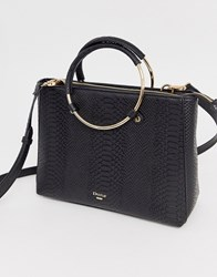 Dune Black Dry Snake Tote With Round Handle Multi