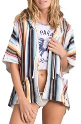 Women's Billabong 'Shadow View' Stripe Hooded Poncho Cardigan