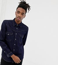 Heart And Dagger Denim Western Shirt With Long Sleeves Navy