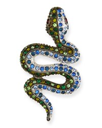 Kenneth Jay Lane Multicolor Crystal Snake Pin