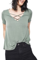 Topshop Women's Cross Neck Tee Olive