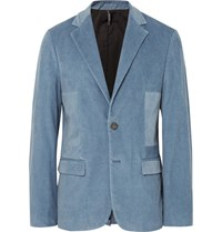 Helbers Blue Slim Fit Washed Cotton Blend Corduroy Blazer Blue