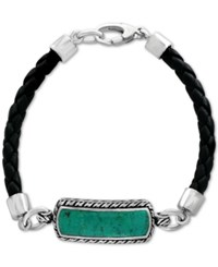 Effy Men's Manufactured Turquoise 27 1 2 X 8Mm Black Leather Bracelet In Sterling Silver Blue