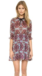 For Love And Lemons Geneva Mini Dress Cornflower Blue Print