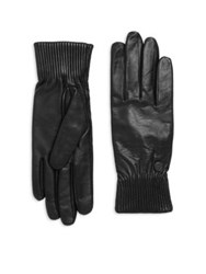 Canada Goose Ribbed Leather Gloves Black