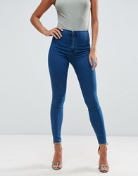 Asos Rivington High Waist Denim Jeggings In New Blair Dark Wash Dark Wash Blue