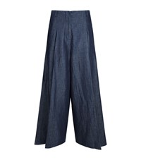 Max Mara Denim Wide Leg Trousers Blue