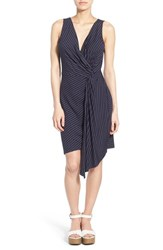Women's Matty M Stripe Knit Knot Detail V Neck Dress Navy