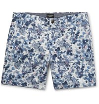 Club Monaco Baxter Floral Print Linen And Cotton Blend Twill Shorts Blue