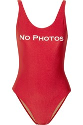 Adriana Degreas No Photos Printed Swimsuit Red
