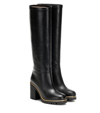 Charlotte Olympia Barbara Leather Knee High Boots Black