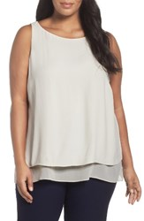 Eileen Fisher Plus Size Women's Silk Georgette Crepe Tiered Tank Bone