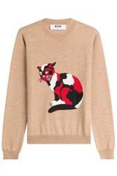 Msgm Wool Fleece Pullover With Cat Camel