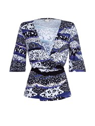 Yumi Graphic Wrap Jersey Top Navy