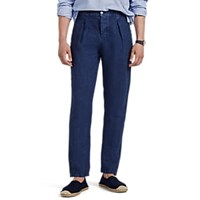 Marco Pescarolo Washed Linen Pleated Drawstring Trousers Navy
