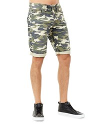 True Religion Men's Ricky Camouflage Flap Pocket Rolled Cuff Denim Shorts Green