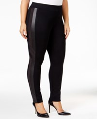 Styleandco. Style Co. Plus Size Faux Leather Inset Leggings Only At Macy's Deep Black