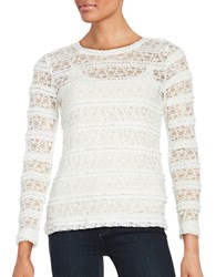 Lord And Taylor Petite Long Sleeve Ruffle Lace Mesh Tee Ivory