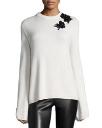 Prabal Gurung Embroidered Cashmere Sweater Ivory