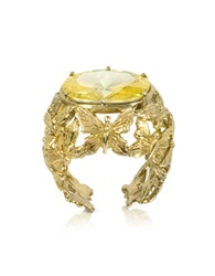 Bernard Delettrez Bronze Dome Ring W Butterflies And Yellow Cubic Zirconia
