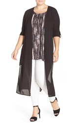 Plus Size Women's Dantelle Chiffon Duster Black