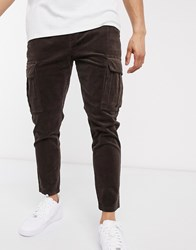 Solid Slim Fit Cargo Trouser In Brown Navy
