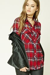 Forever 21 Flannel Plaid Shirt Red Navy