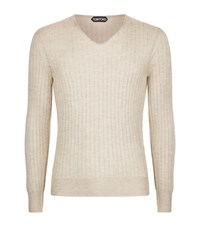 Tom Ford Ribbed Cashmere Knit Jumper Male Beige