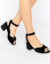 Truffle Collection Knot Front Mid Heel Sandal Black Velvet