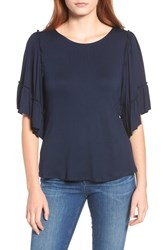 Bobeau Flutter Sleeve Top Navy