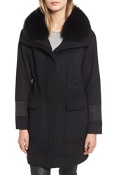 Trina Turk Whitney Genuine Fox Fur Trim Coat Black