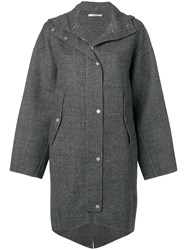 Odeeh Hooded Buttoned Coat Grey