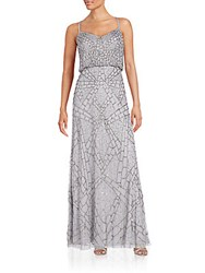 Adrianna Papell Embellished Blouson Gown Grey Silver