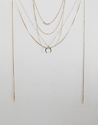 Bershka Multi Layer Necklace With Crescent Charm Gold