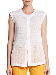Lafayette 148 New York Cotton Mesh Vest White