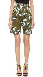 Msgm Floral Shorts Blue Green