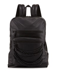 Ash Domino Chain Large Leather Backpack Black