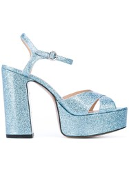 Marc Jacobs Glittered Platform Sandals Women Leather Patent Leather 39 Blue