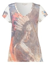 Cream Ella Print Tshirt Chalk Off White