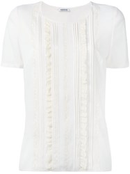 P.A.R.O.S.H. Frilled Panel T Shirt Nude Neutrals