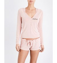 Wildfox Couture Hooded Henley Jersey Pyjama Set Dusty Rose