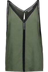 Sandro Empire Open Knit Cotton Trimmed Silk Top Army Green