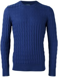 Ballantyne Jacquard Crew Neck Jumper Blue