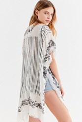 Urban Outfitters Border Printed Striped Kimono Black White
