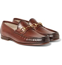Gucci Roos Horsebit Burnished Leather Loafers Brown