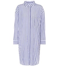 Velvet Striped Cotton Shirt Dress Blue