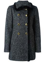 Dolce And Gabbana Tweed A Line Coat Black