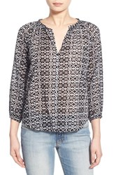 Women's Velvet By Graham And Spencer Cotton Voile Peasant Blouse Tile Multi
